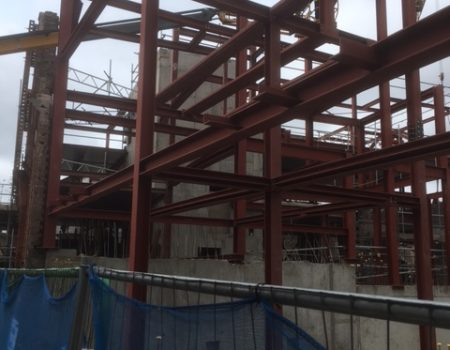 an image of the steel beams on site