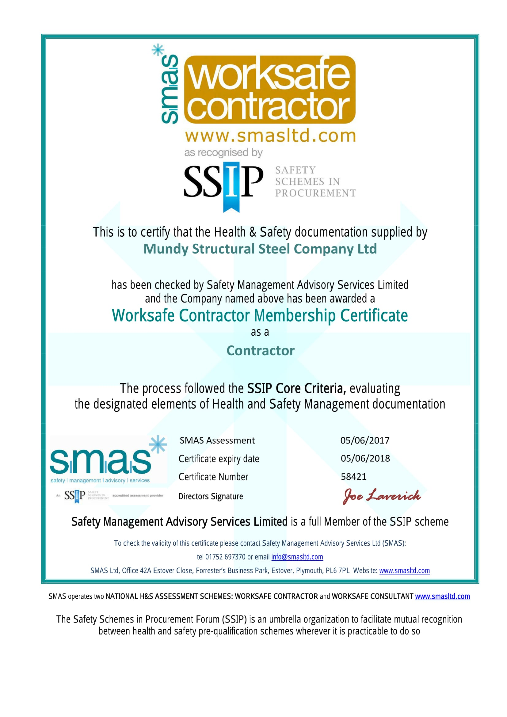 an image of SMAS certification
