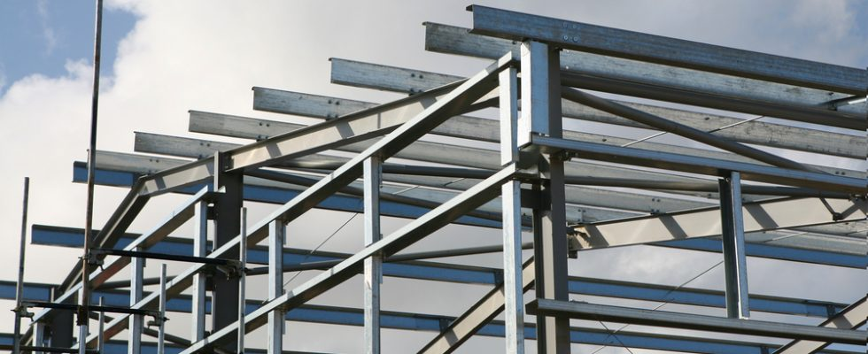 an image of a construction in London comprised of structural steel