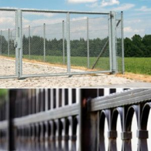 an image of two very different steel fencing styles