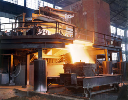 an image of steel being made in a steel furnace