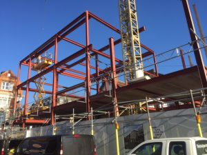 an image of the structural steel skeleton for an apartment building