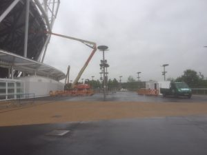 an image of a crane in the carpark of London Stadium