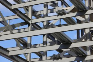 a close up image of a structural steel project in London