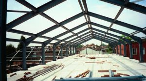 a warehouse hip roof made from steel