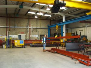 an image of steel frames being fabricated