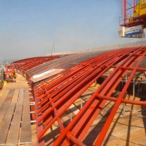 an image of a steel structure on the roof of a building
