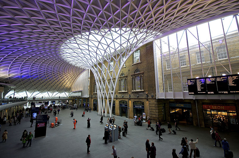 an image of the steel roof canopy of King's Cross Station