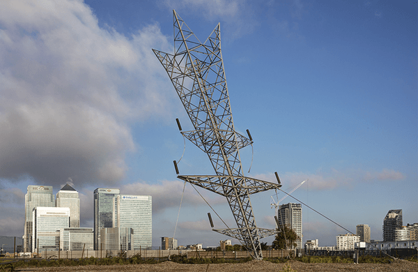 an image of a steel sculpture by Alex Chinneck